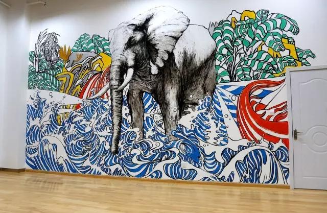 墙绘案例-创意墙绘--象箸玉杯【深圳帷幕墙绘】