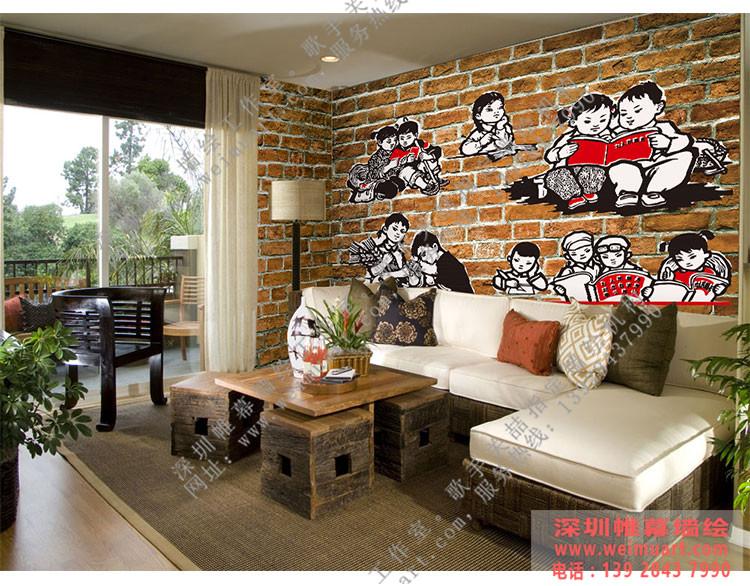 主题餐厅墙绘-红色革命主题