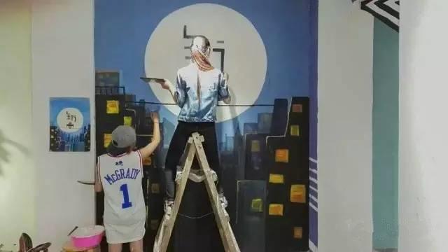 墙绘案例-某工作室墙体彩绘-知行【同样质量,我们价格更低】