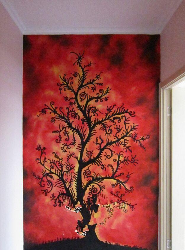墙绘案例-玄关手绘-生长的树木【客户满意度100%】