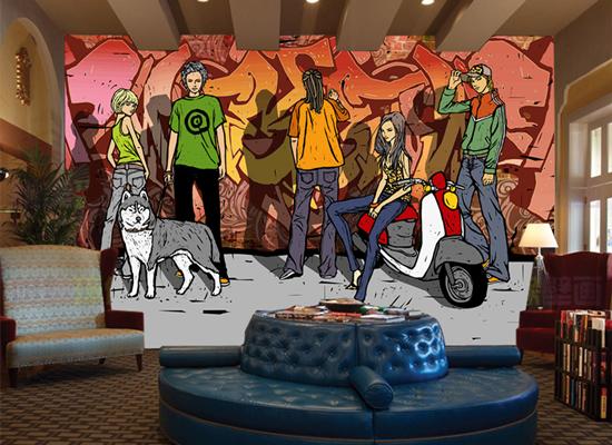 酒吧墙体手绘
