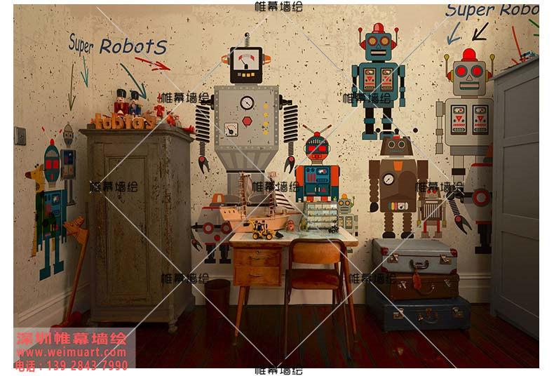 儿童房墙绘壁画-超人机器人