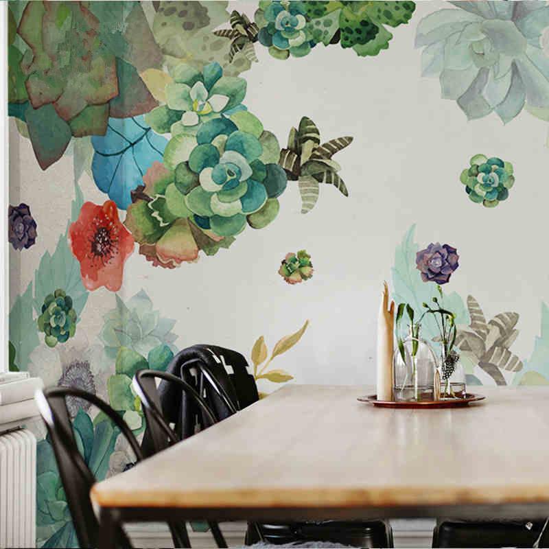 家居室内墙绘-水彩花卉