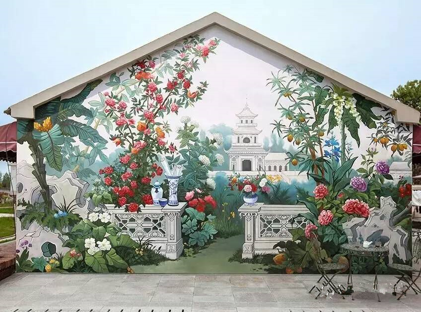 墙绘案例-厂房外墙彩绘-繁花似锦